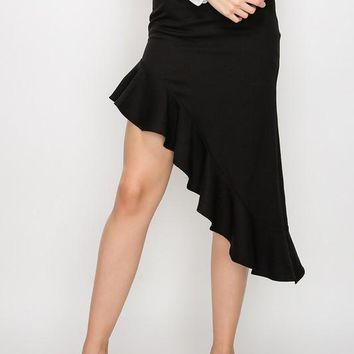 HIGH-LOW RUFFLE SKIRT