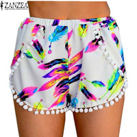 US Plus Size 4-18 Hot Sale Zanzea 2016 Summer Style Floral Printed Pom Pom Hem High Waisted Tassel Beach Casual Hot Shorts