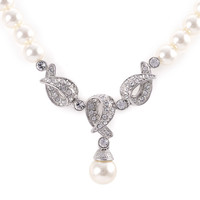 Venetian Pearl Ornate Y Pendant Necklace