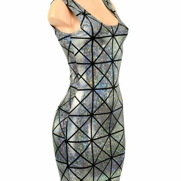 Cracked Tile Holographic Tank dress