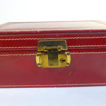 Vintage Red Leather with Stitched  Hinged Top Ladies Jewelry Box Jewelry Display Merchandising Prop Red Velvet Lining Trinket Box