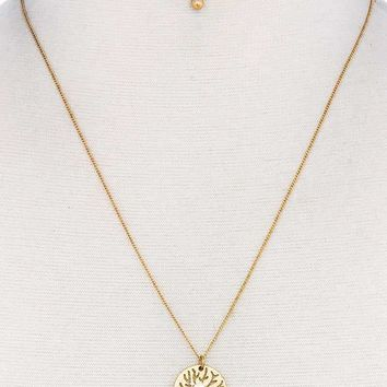Hot Trendy Brass Tree Pendant Necklace And Earring Set