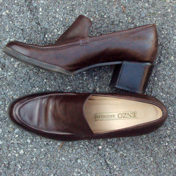 Chunky Heel Loafers vintage 90s brown leather pumps Enzo Angiolini slip on shoes stacked heels secretary librarian hipster womens 7