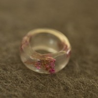Funky Plum Pressed Flower Ring