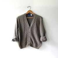 vintage slouchy sweater. taupe cardigan sweater. cropped cable knit.