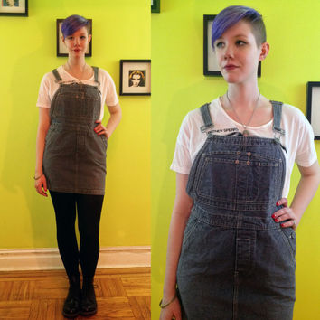 Calvin Klein Jeans railroad stripe denim overall dress/ skirtall size medium