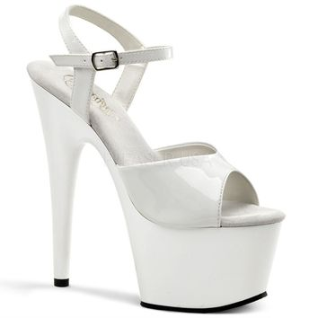 White Patent Ankle Strap Sandal Stripper Shoe 7 Inch Stiletto Heel