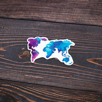 "Watercolor Map - Pack Of 3 - 4"" Wide - Personalized Sticker - Die Cut"