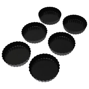 "Evelots® Set of 6 Non-Stick Round Fluted Quiche or Dessert Tart Pans, 5"" Diameter"