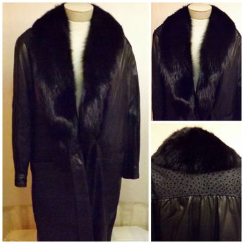 80s Black Leather Coat Faux Mink Fur Trim Size XL Dubrowsky Perlbinder