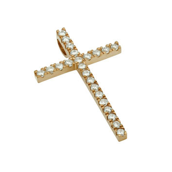"""Sterling Silver Pendant Small Rose Tone Cross CZs Made in USA (Free 18"""" Chain)"""