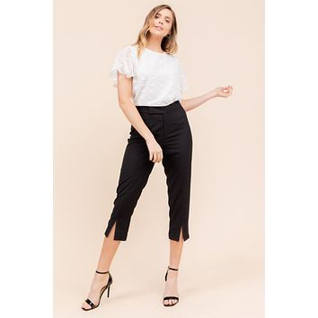 Front Slit Knit Capri Pants - Black