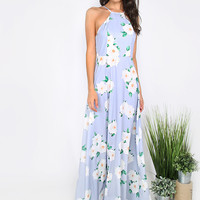 Floral Print Square Neck Maxi Dress BLUE | MakeMeChic.COM