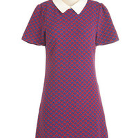 Miss Patina 60s Mid-length Short Sleeves Shift Game Night Gathering Dress