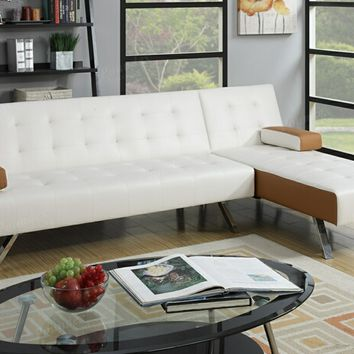 2 pc Alisian II collection two tone faux leather upholstered folding sofa and reversible chaise futon sectional set