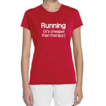"Women's Short Sleeve Performance ""Running - It's Cheaper Than Therapy"" Technical T-Shirt"
