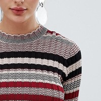 Fashion Union Cropped Sweater In Multi Stripe at asos.com