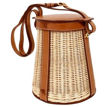 very rare HERMES Farming Picnic Osier bag in wicker and veau barenia leather