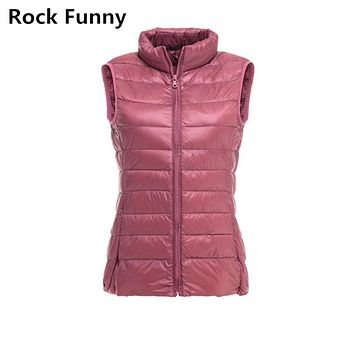 Women Winter Down Jacket Thin Short Vest 90% White Duck Casual Ultra Light Down Jacket Fashion Solid Warm Vest 8 Colors Coat