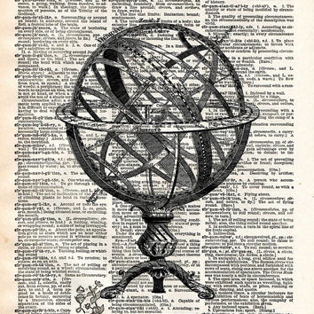 The great armillary sphere globe steampunk  vintage  dictionary page book art print