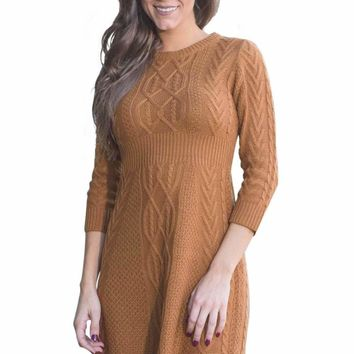 Brown Cable Knit Fitted 3/4 Sleeve Sweater Dress