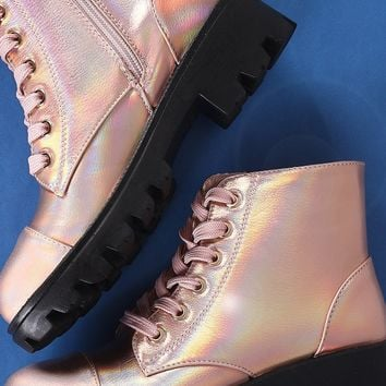 Bamboo Holographic Lace-Up Combat Ankle Boots