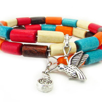 Colorful Memory Wire Wrap Bracelet with Hummingbird Charm