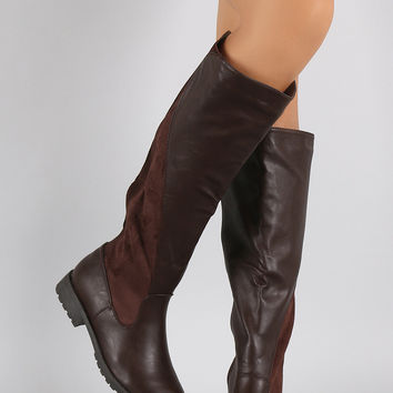 Bamboo Elasticized Panel Riding Knee High Boots