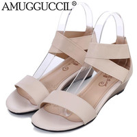 2016 New Arrival Genuine Leather Big Size 33-42 Black Beige Fashion Casual Comfy Women Summer Wedges Shoes Sandals L228