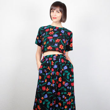 Vintage Matching Set Black Floral Crop Top Midi Skirt Two Piece Matching Outfit 1980s 80s Cropped Shirt Knee Length Skirt XS S Small M
