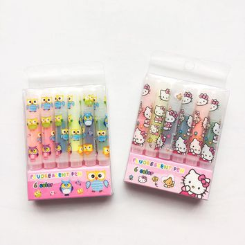 P37 Set of 6 Cute Hello Kitty Owl Pocket Mini Highlighter Paint Marker Pen Drawing Liquid Chalk Stationery School Office Supply