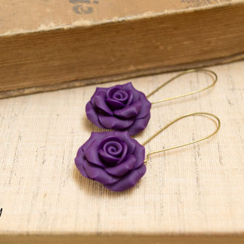 Polymer Clay Rose Earrings. Deep Purple Long Dangles. Antique Brass Ear Wires. Deep Purple Jewelry. Handcrafted Jewelry