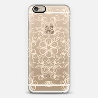 Painted Cream Floral Doodle on Crystal Transparent iPhone 6 case by Micklyn Le Feuvre | Casetify