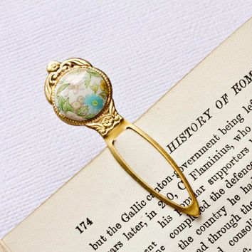 Romantic Bookmark Shabby chic Vintage Style Gold Brass by lonkoosh