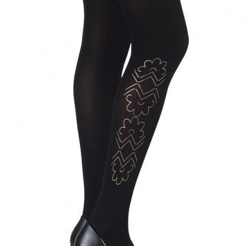 "ZOHARA ""CAUGHT IN THE METAL"" BLACK PRINT TIGHTS (ZOF368-BG)"