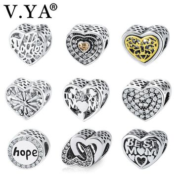 V.YA Fits for Pandora Charm Bracelet Bangle Mother Charm Double Heart Shape Bead for Jewelry Making Women Men DIY