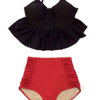 Solid Swimsuit Bikini Bathing suit Swim dress Beach wear Outfit : Black Peplum Top and Red Ruched High waist waisted Cut Shorts Bottom S M L