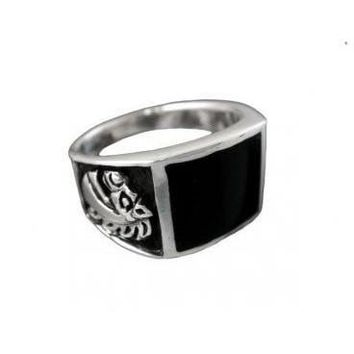 925 Sterling Silver Men's Black Onyx Engraved Horse Pony Ring