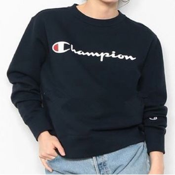 Champion classic logo letter couple sweater high quality bottoming shirt F0263-1 Navy blue