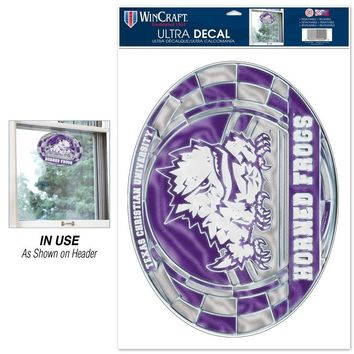 """TCU HORNED FROGS ULTRA DECAL STAINED GLASS 11""""X17"""" NEW  SHIPPING"""