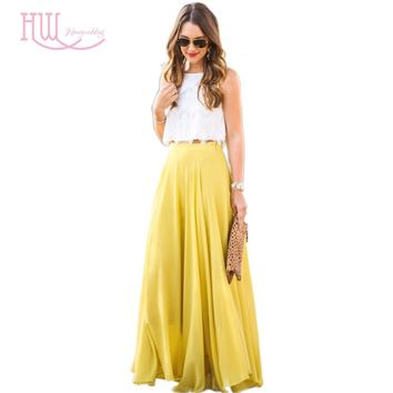 Summer Style Chiffon Party Skirt A Line Floor Length Maxi Skirt Yellow Long Skirt Free Shipping