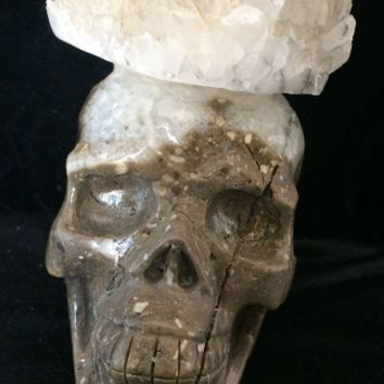 Rare Giant Crystal Crown Cluster Skull