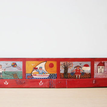 Four seasons painting, folk art painting of the four seasons, vintage, Greek folk art on salvaged wood, children in four seasons themes