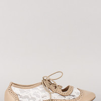 Rosy-5 Floral Lace Round Toe Oxford Flat