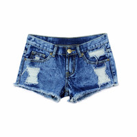 Spring Shorts Women Denim Female Shorts Solid Blue Short Jeans Hole Style Summer Shorts