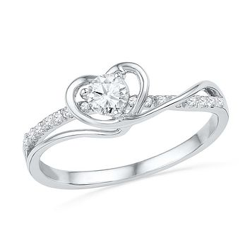 10kt White Gold Womens Round Diamond Heart Love Promise Bridal Ring 1/4 Cttw