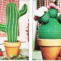 Vintage Crochet Pattern Cactus Plant decoration house plant faux plant PDF Instant Download epsteam crochet pattern crochet home decor