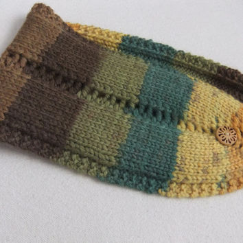 Hand Knit Headband Ear Warmer Wool and Acrylic Yarn in Gold Yellow Emerald Olive Chocolate Latte with
