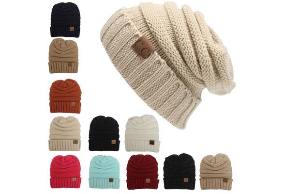 64c4424673781 Fashion Winter Knitted Wool Cap Unisex Women Men Folds Casual CC Labeling Beanies  Hat