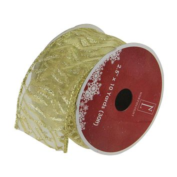 """Pack of 12 Sparkling Gold Lines Wired Christmas Craft Ribbon Spools - 2.5"""" x 120 Yards Total"""